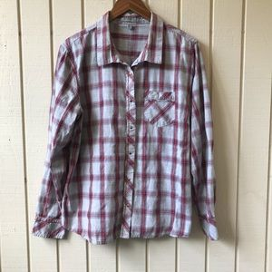 Horny Toad Button Up Plaid Long Sleeve Shirt